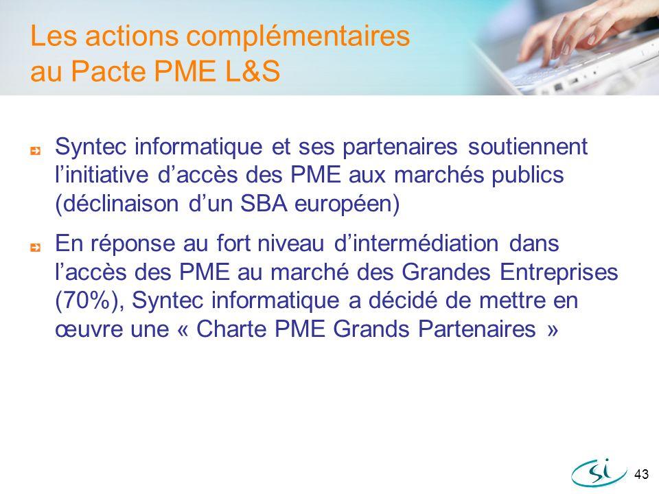 43 Les actions complémentaires au Pacte PME L&S Syntec informatique et ses partenaires soutiennent linitiative daccès des PME aux marchés publics (déc