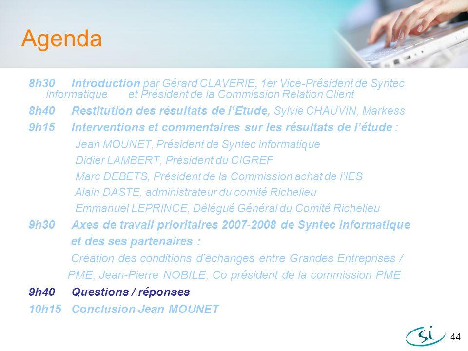 44 Agenda 8h30 Introduction par Gérard CLAVERIE, 1er Vice-Président de Syntec informatique et Président de la Commission Relation Client 8h40 Restitut