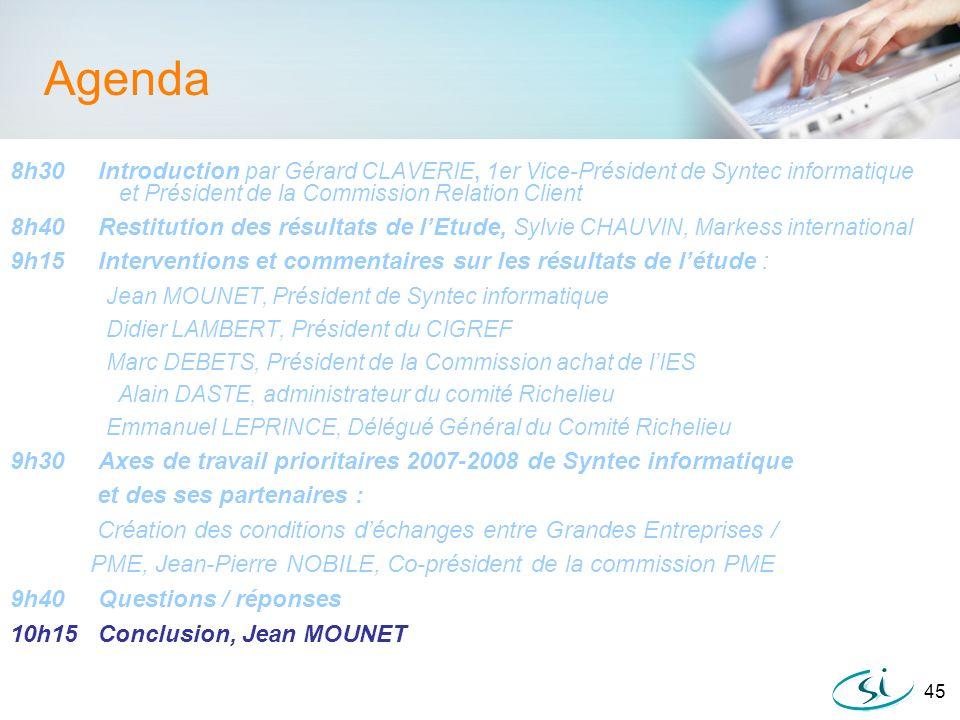 45 Agenda 8h30 Introduction par Gérard CLAVERIE, 1er Vice-Président de Syntec informatique et Président de la Commission Relation Client 8h40 Restitut