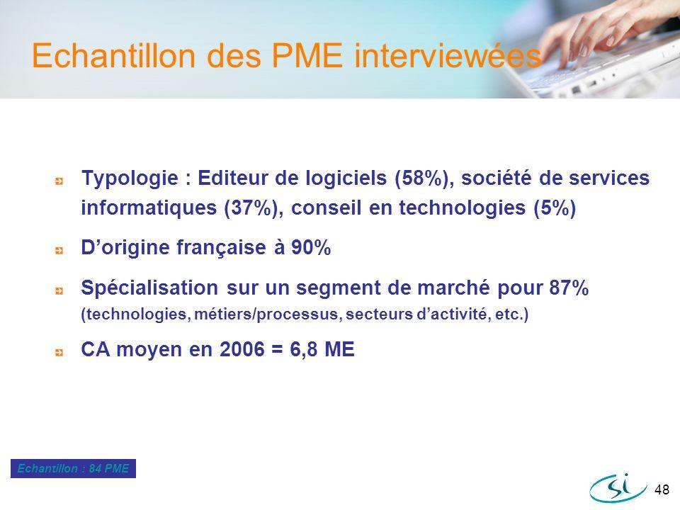 48 Echantillon des PME interviewées Typologie : Editeur de logiciels (58%), société de services informatiques (37%), conseil en technologies (5%) Dori