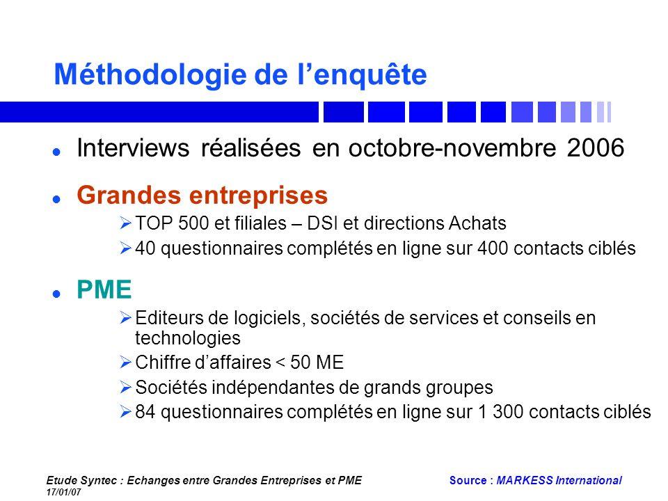 Etude Syntec : Echanges entre Grandes Entreprises et PME 17/01/07 Source : MARKESS International Méthodologie de lenquête Grandes entreprises TOP 500