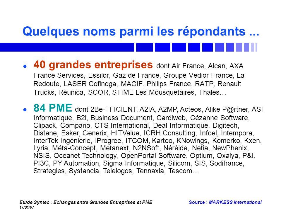 Etude Syntec : Echanges entre Grandes Entreprises et PME 17/01/07 Source : MARKESS International Quelques noms parmi les répondants... 40 grandes entr