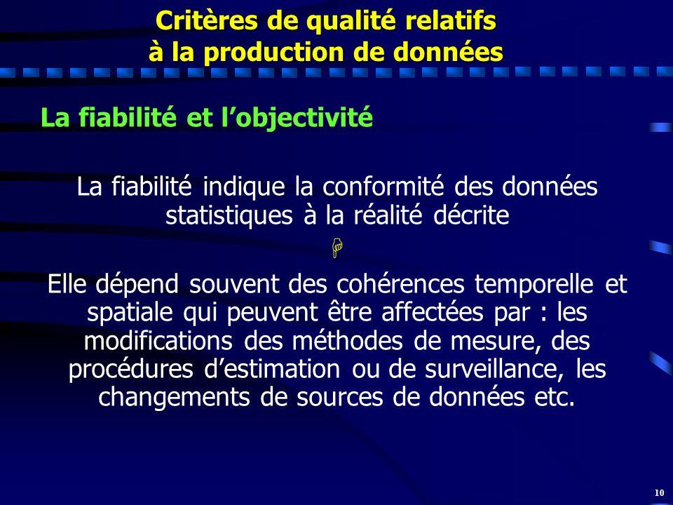10 La fiabilité et lobjectivité La fiabilité indique la conformité des données statistiques à la réalité décrite Elle dépend souvent des cohérences te