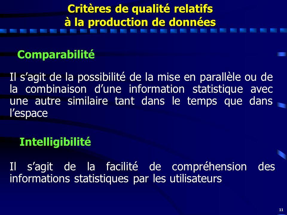 11 Comparabilité Il sagit de la possibilité de la mise en parallèle ou de la combinaison dune information statistique avec une autre similaire tant da