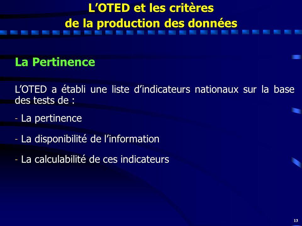 13 LOTED et les critères de la production des données La Pertinence LOTED a établi une liste dindicateurs nationaux sur la base des tests de : - La pe