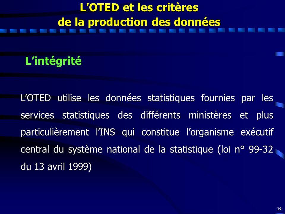 19 LOTED et les critères de la production des données Lintégrité LOTED utilise les données statistiques fournies par les services statistiques des dif