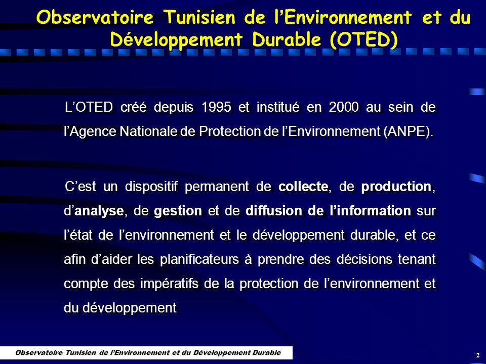 2 Observatoire Tunisien de l Environnement et du D é veloppement Durable (OTED) LOTED créé depuis 1995 et institué en 2000 au sein de lAgence National