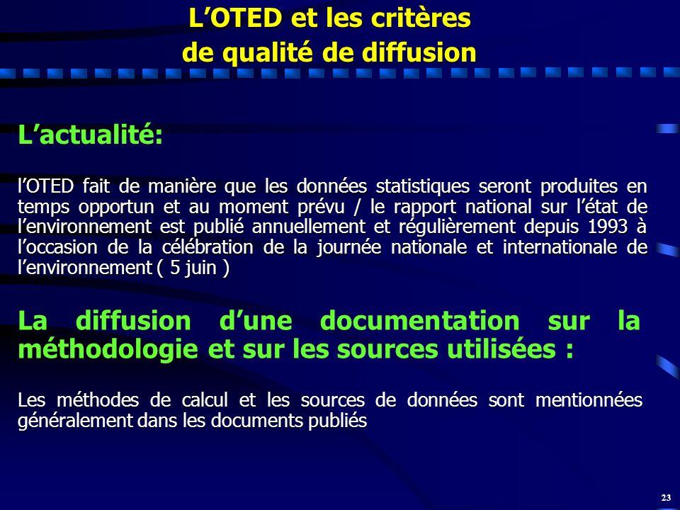 23 Lactualité: lOTED fait de manière que les données statistiques seront produites en temps opportun et au moment prévu / le rapport national sur léta