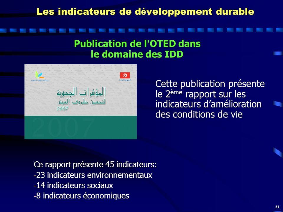 31 Les indicateurs de d é veloppement durable Publication de l OTED dans le domaine des IDD Cette publication présente le 2 ème rapport sur les indica