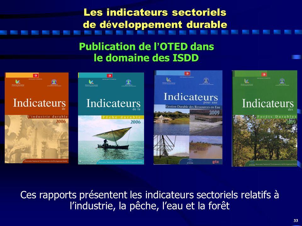 33 Ces rapports présentent les indicateurs sectoriels relatifs à lindustrie, la pêche, leau et la forêt Les indicateurs sectoriels de d é veloppement