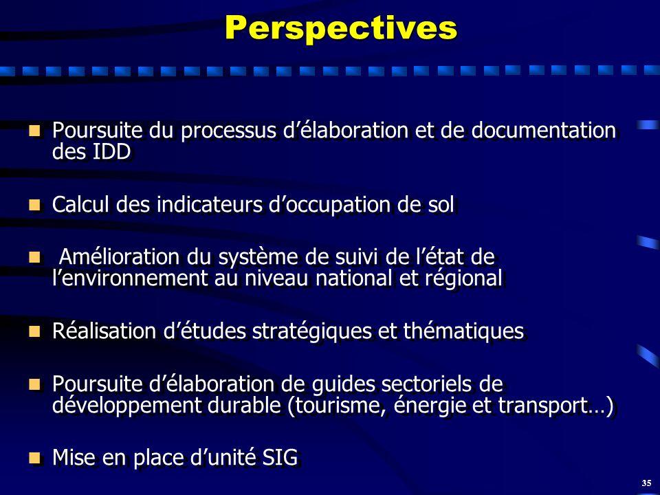 35Perspectives n n Poursuite du processus délaboration et de documentation des IDD n n Calcul des indicateurs doccupation de sol n n Amélioration du s