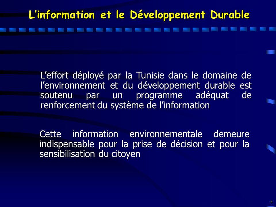 5 Linformation et le Développement Durable Leffort déployé par la Tunisie dans le domaine de lenvironnement et du développement durable est soutenu pa