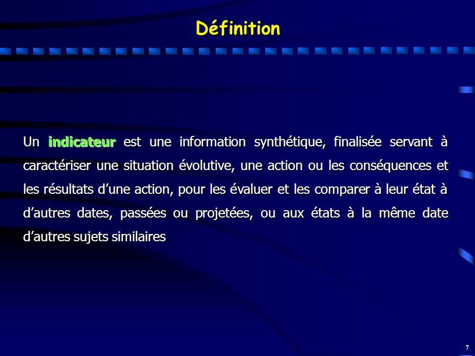 7 Un indicateur est une information synthétique, finalisée servant à caractériser une situation évolutive, une action ou les conséquences et les résul