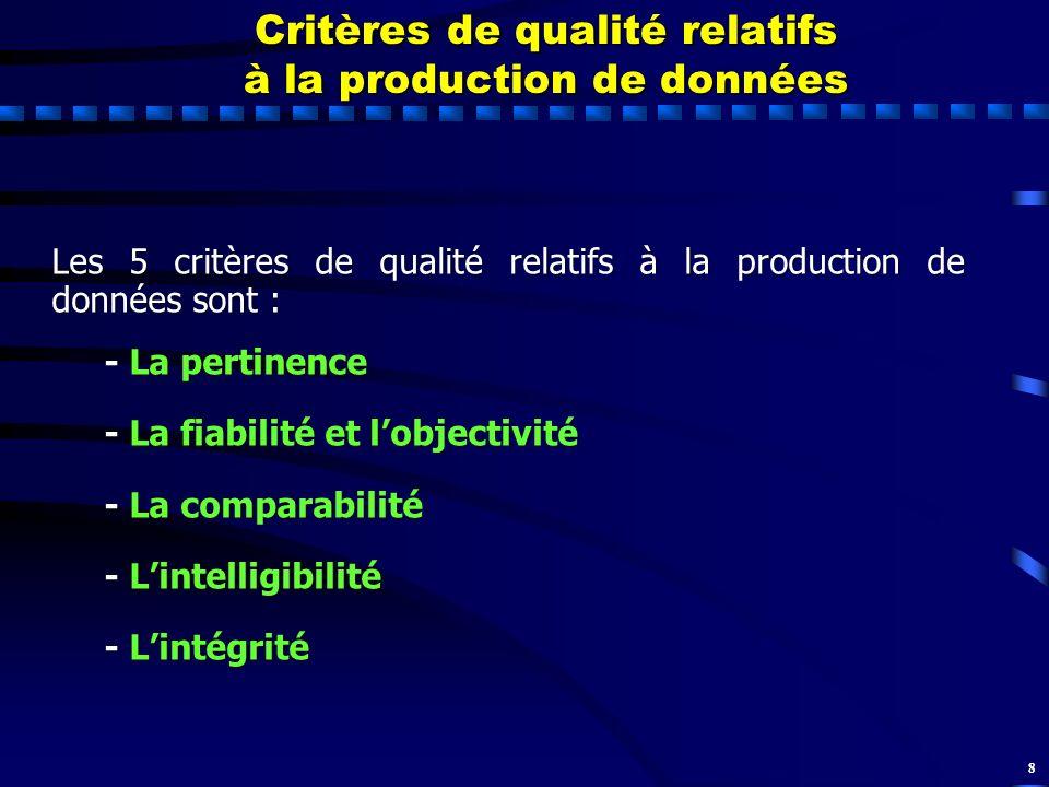 8 Critères de qualité relatifs à la production de données Les 5 critères de qualité relatifs à la production de données sont : - La pertinence - La fi