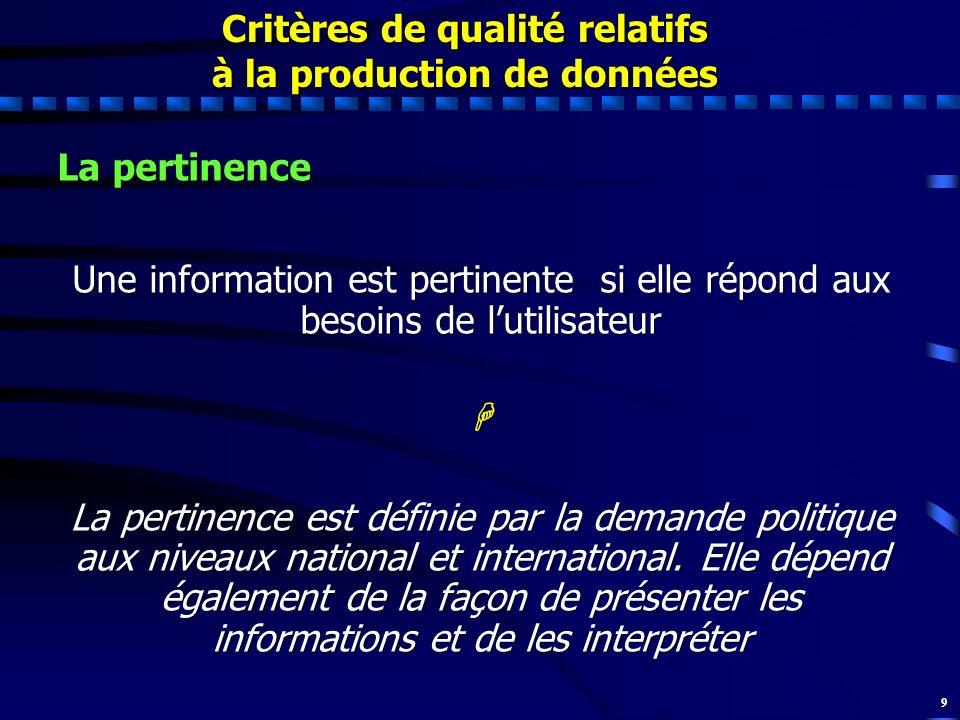 9 La pertinence Une information est pertinente si elle répond aux besoins de lutilisateur La pertinence est définie par la demande politique aux nivea