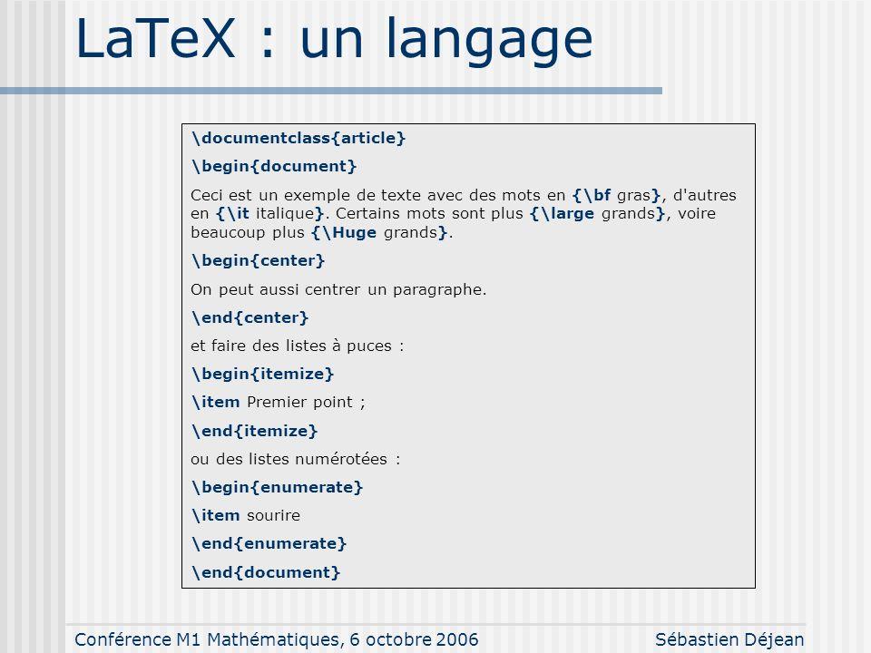 Conférence M1 Mathématiques, 6 octobre 2006Sébastien Déjean WYSIWYM – 2 \frac{1}{N}\sum_{i=1}^{N} \left(X_i - \bar{X} \right)^2 \int_a^b f(x) dx