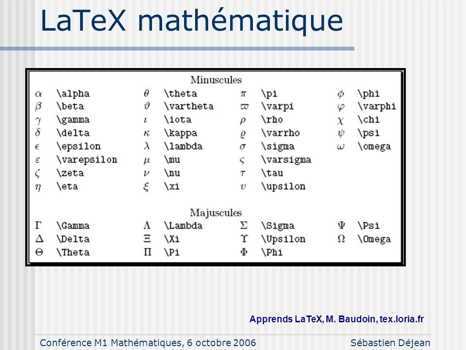 Conférence M1 Mathématiques, 6 octobre 2006Sébastien Déjean LaTeX : un langage \documentclass{article} \begin{document} Ceci est un exemple de texte a