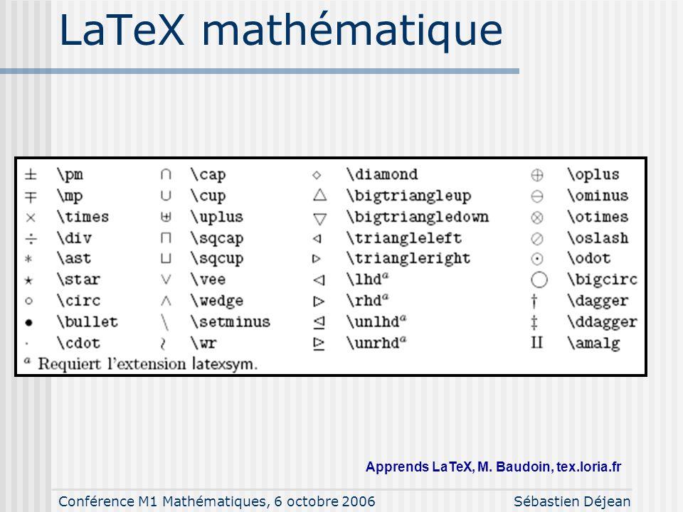 Conférence M1 Mathématiques, 6 octobre 2006Sébastien Déjean LaTeX mathématique Apprends LaTeX, M. Baudoin, tex.loria.fr
