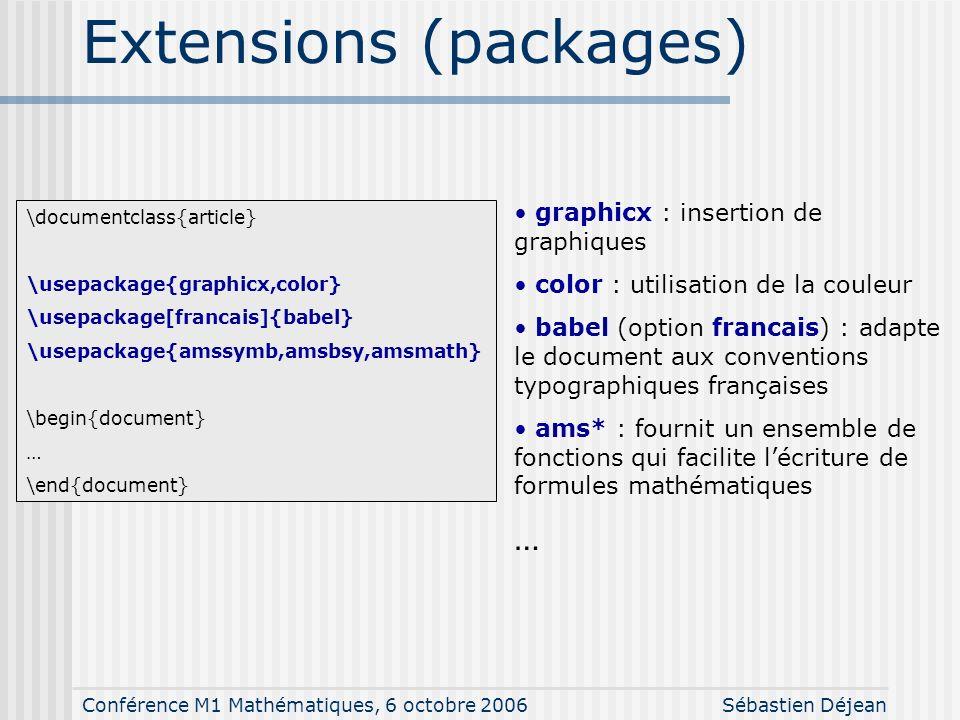 Conférence M1 Mathématiques, 6 octobre 2006Sébastien Déjean Différents types de documents \documentclass{article} documents courts (comptes-rendus de