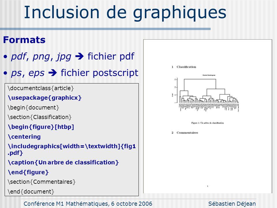 Conférence M1 Mathématiques, 6 octobre 2006Sébastien Déjean Extensions (packages) \documentclass{article} \usepackage{graphicx,color} \usepackage[fran