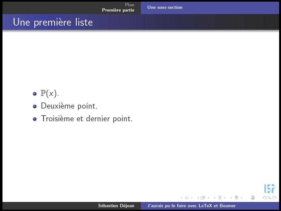 Conférence M1 Mathématiques, 6 octobre 2006Sébastien Déjean Beamer \documentclass{beamer} \usepackage{amsfonts,amssymb} \usepackage{beamerthemeshadow}