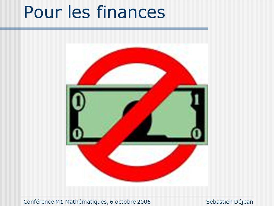 Conférence M1 Mathématiques, 6 octobre 2006Sébastien Déjean Pour les finances