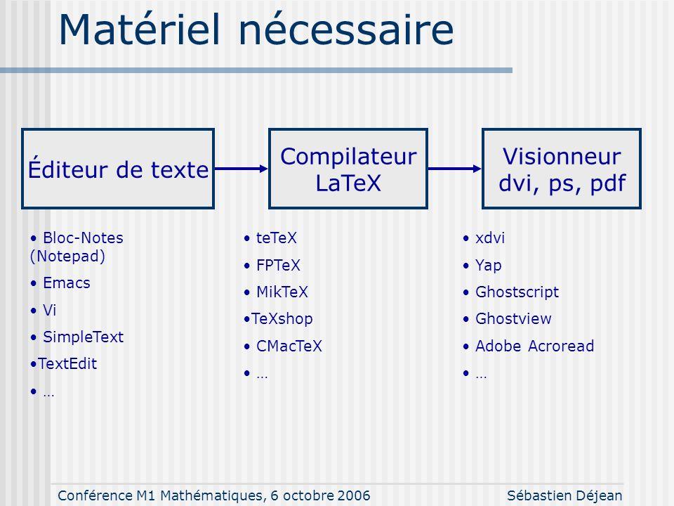 Conférence M1 Mathématiques, 6 octobre 2006Sébastien Déjean Matériel nécessaire Éditeur de texte Compilateur LaTeX Visionneur dvi, ps, pdf Bloc-Notes (Notepad) Emacs Vi SimpleText TextEdit … teTeX FPTeX MikTeX TeXshop CMacTeX … xdvi Yap Ghostscript Ghostview Adobe Acroread …