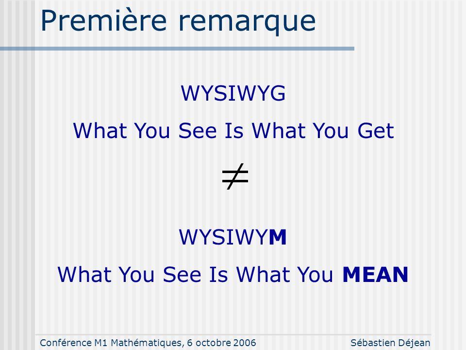 Conférence M1 Mathématiques, 6 octobre 2006Sébastien Déjean Première remarque WYSIWYG What You See Is What You Get WYSIWYM What You See Is What You MEAN