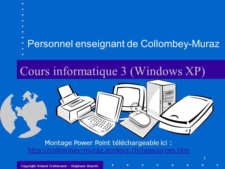 2 Chapitre 3 Les paramètres sous Windows XP Toutes les manipulations à partir du poste de travail