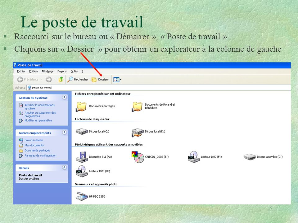 56 Créer un dossier (1) Cliquez sur un espace libre de lécran Onglet « Fichiers », Nouveau » et « Dossier » Donner un nom au dossier