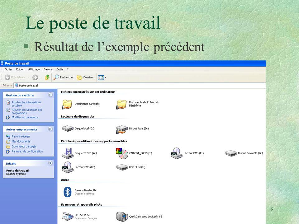 19 Arborescence de l explorateur : n Ouvrir l explorateur Windows n Cliquer sur le bouton « Dossiers » si la colonne de gauche n est pas apparente.