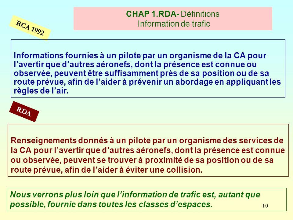 10 RCA 1992 CHAP 1.RDA- Définitions Information de trafic RDA Informations fournies à un pilote par un organisme de la CA pour lavertir que dautres aé
