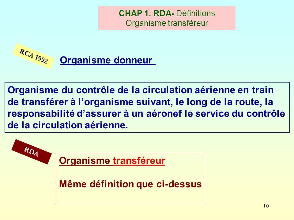 16 RCA 1992 CHAP 1. RDA- Définitions Organisme transféreur Organisme donneur Organisme transféreur Même définition que ci-dessus RDA Organisme du cont