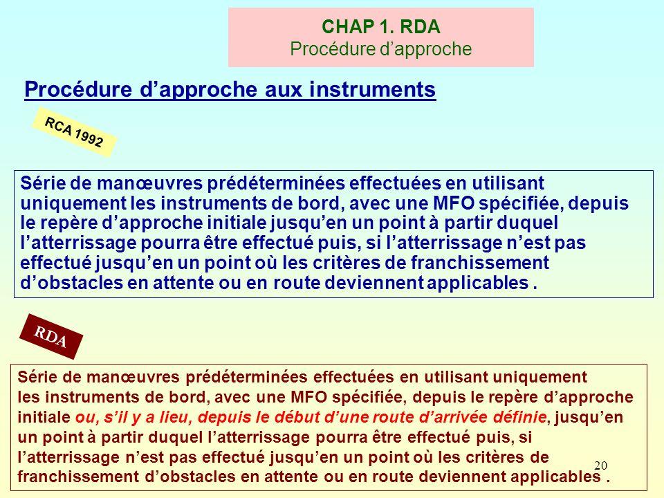 20 Procédure dapproche aux instruments RCA 1992 CHAP 1. RDA Procédure dapproche RDA Série de manœuvres prédéterminées effectuées en utilisant uniqueme