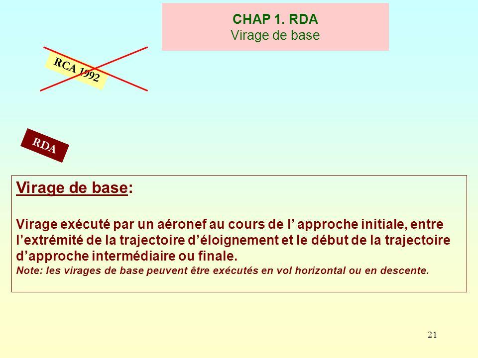 21 CHAP 1. RDA Virage de base RCA 1992 Virage de base: Virage exécuté par un aéronef au cours de l approche initiale, entre lextrémité de la trajectoi