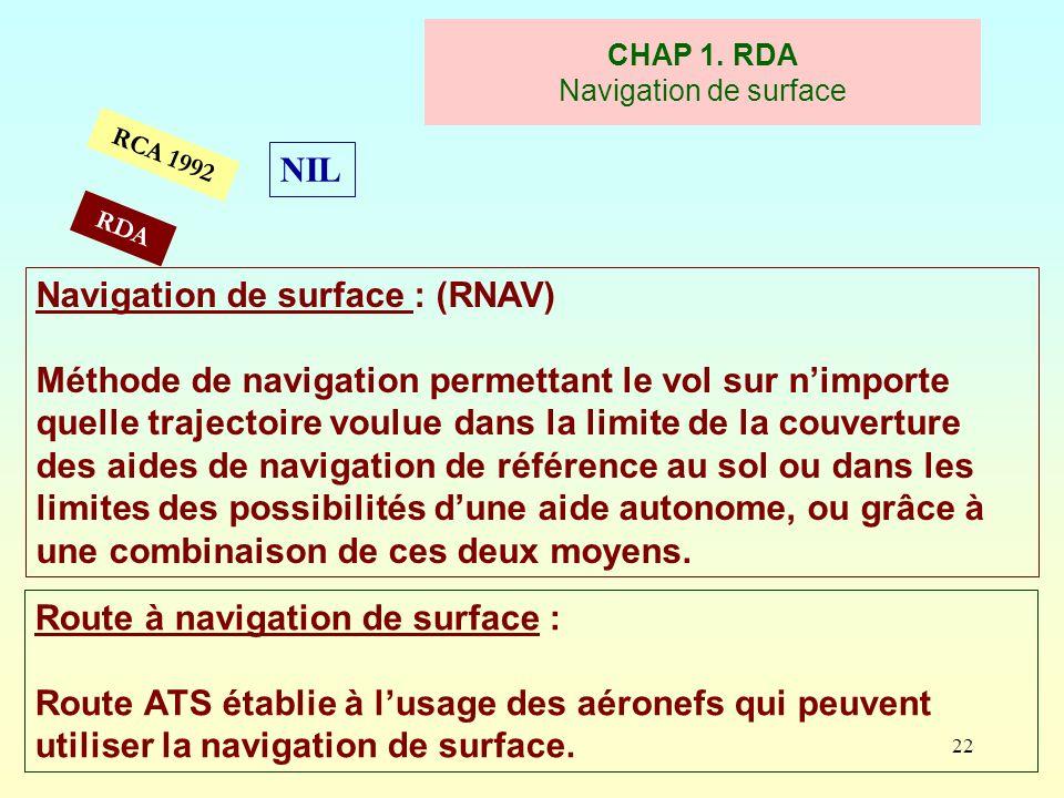 22 RCA 1992 CHAP 1. RDA Navigation de surface Navigation de surface : (RNAV) Méthode de navigation permettant le vol sur nimporte quelle trajectoire v