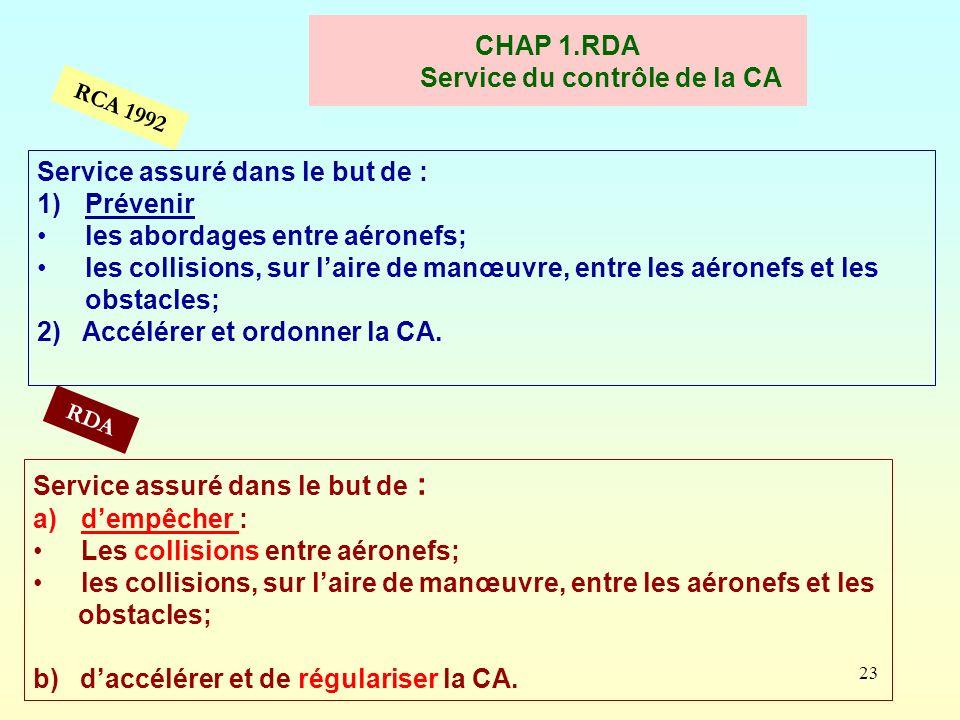 23 CHAP 1.RDA Service du contrôle de la CA Service assuré dans le but de : 1)Prévenir les abordages entre aéronefs; les collisions, sur laire de manœu