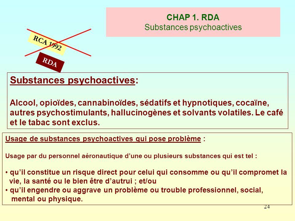 24 CHAP 1. RDA Substances psychoactives RCA 1992 Substances psychoactives: Alcool, opioïdes, cannabinoïdes, sédatifs et hypnotiques, cocaïne, autres p