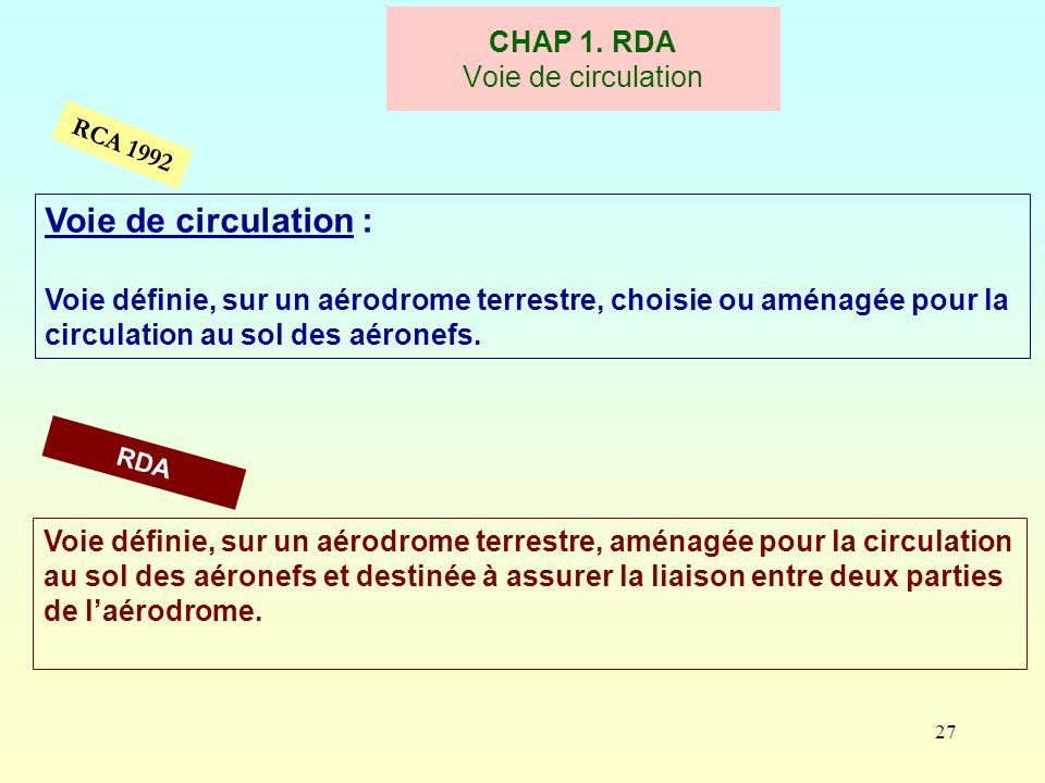 27 CHAP 1. RDA Voie de circulation RCA 1992 Voie de circulation : Voie définie, sur un aérodrome terrestre, choisie ou aménagée pour la circulation au