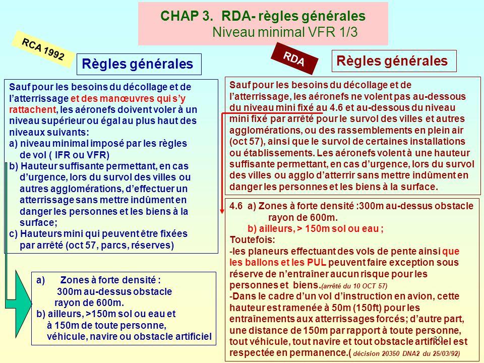 30 CHAP 3. RDA- règles générales Niveau minimal VFR 1/3 RCA 1992 RDA Règles générales Sauf pour les besoins du décollage et de latterrissage et des ma