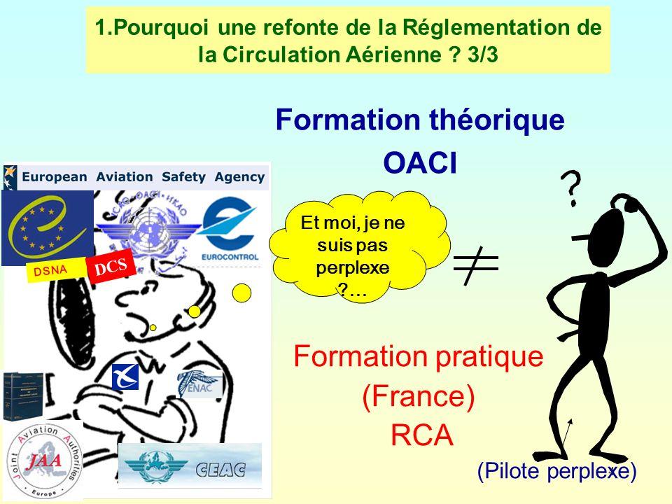 4 1.Pourquoi une refonte de la Réglementation de la Circulation Aérienne ? 3/3 Formation théorique OACI (Pilote perplexe) Formation pratique (France)