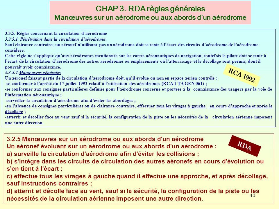 40 CHAP 3. RDA règles générales Manœuvres sur un aérodrome ou aux abords dun aérodrome RCA 1992 RDA 3.3.5. Règles concernant la circulation daérodrome