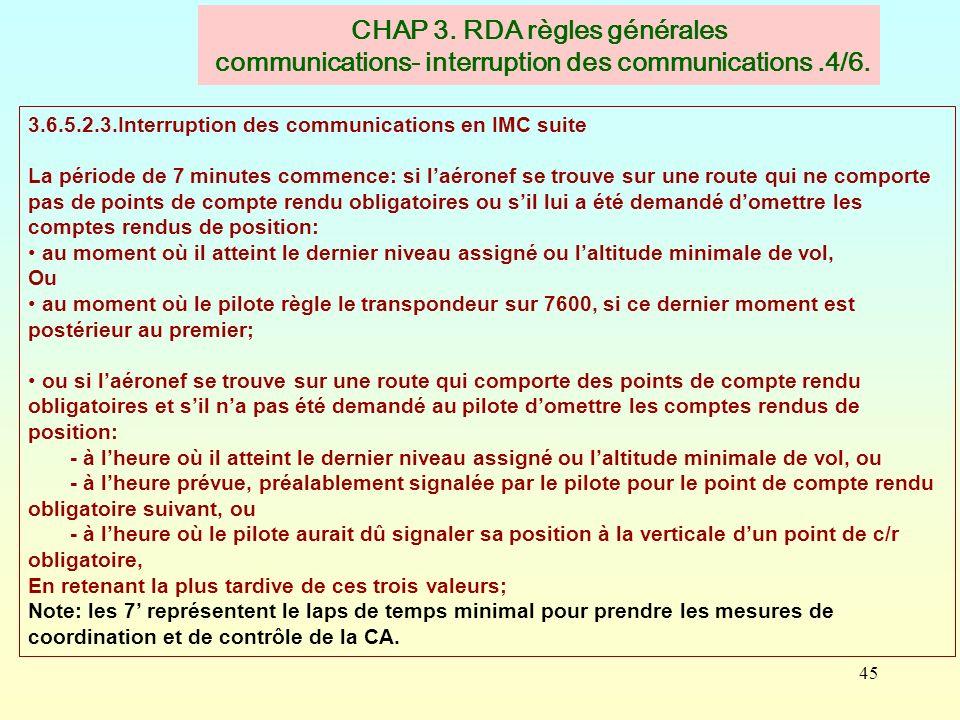 45 CHAP 3. RDA règles générales communications- interruption des communications.4/6. 3.6.5.2.3.Interruption des communications en IMC suite La période
