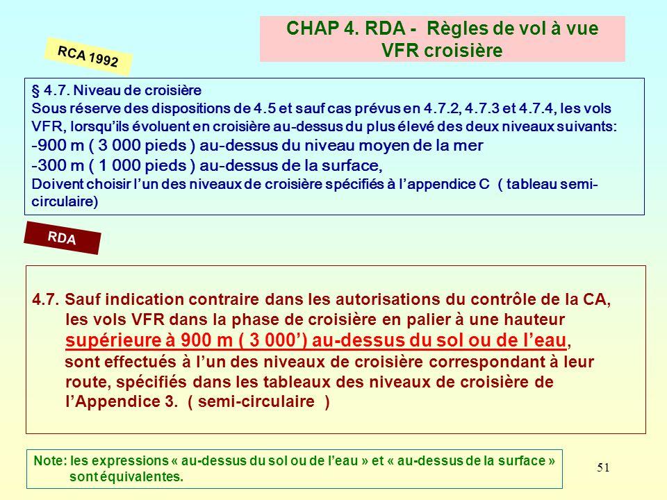 51 CHAP 4. RDA - Règles de vol à vue VFR croisière § 4.7. Niveau de croisière Sous réserve des dispositions de 4.5 et sauf cas prévus en 4.7.2, 4.7.3