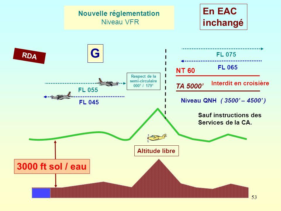 53 3000 ft sol / eau FL 045 FL 055 Altitude libre Respect de la semi-circulaire 000° / 179° Nouvelle réglementation Niveau VFR RDA G En EAC inchangé T