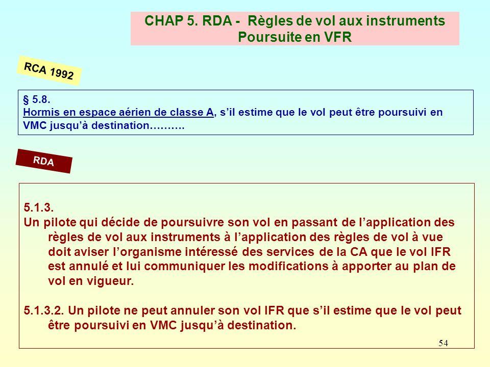 54 CHAP 5. RDA - Règles de vol aux instruments Poursuite en VFR § 5.8. Hormis en espace aérien de classe A, sil estime que le vol peut être poursuivi