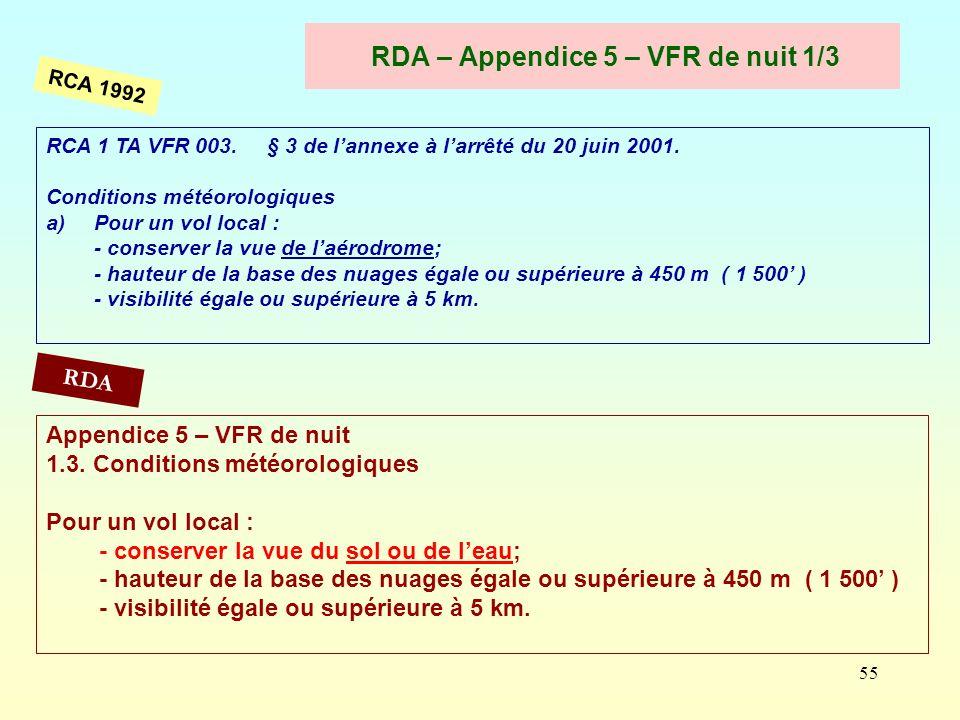 55 RDA – Appendice 5 – VFR de nuit 1/3 RCA 1 TA VFR 003. § 3 de lannexe à larrêté du 20 juin 2001. Conditions météorologiques a)Pour un vol local : -