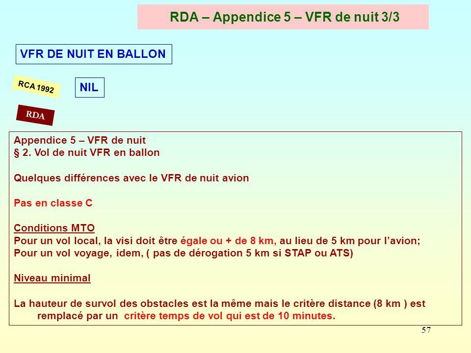 57 RDA – Appendice 5 – VFR de nuit 3/3 RCA 1992 Appendice 5 – VFR de nuit § 2. Vol de nuit VFR en ballon Quelques différences avec le VFR de nuit avio