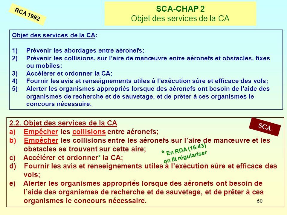 60 SCA-CHAP 2 Objet des services de la CA RCA 1992 Objet des services de la CA: 1)Prévenir les abordages entre aéronefs; 2)Prévenir les collisions, su