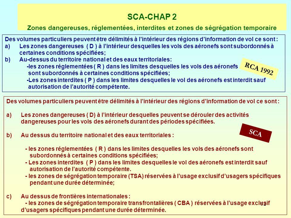 62 SCA-CHAP 2 Zones dangereuses, réglementées, interdites et zones de ségrégation temporaire RCA 1992 SCA Des volumes particuliers peuvent être délimi